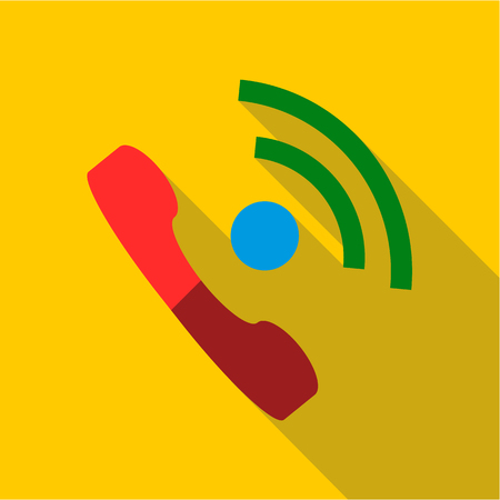 Talking on phone icon. Flat illustration of talking on phone vector icon for web