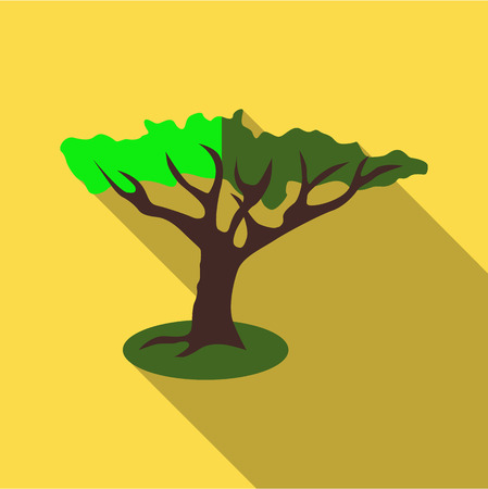 Green tree icon. Flat illustration of green tree vector icon for web