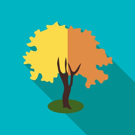 fluffy: Fluffy autumn tree icon. Flat illustration of fluffy autumn tree vector icon for web