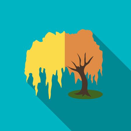 willow tree: Willow tree icon. Flat illustration of willow tree vector icon for web Illustration
