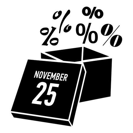 twenty fifth: Box discounts on twenty fifth of november icon. Simple illustration of box discounts on twenty fifth of november vector icon for web