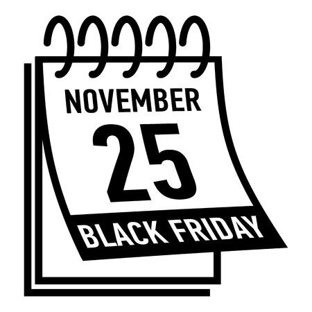 twenty fifth: Calendar twenty fifth november black friday icon. Simple illustration of calendar twenty fifth november black friday vector icon for web