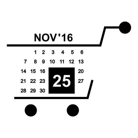 twenty fifth: Basket calendar twenty fifth of november icon. Simple illustration of basket calendar twenty fifth of november vector icon for web