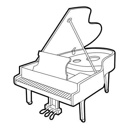 Grande icône de piano. Outline illustration isométrique de grande icône vecteur de piano pour le web