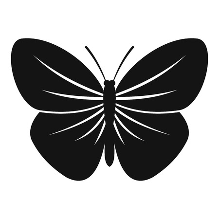 mormon: Black butterfly icon. Simple illustration of black butterfly vector icon for web