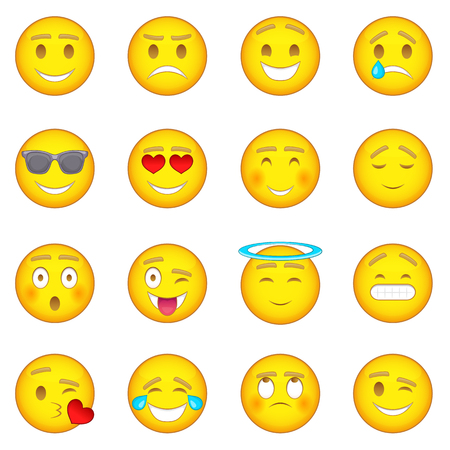 Smiles icons set. Cartoon illustration of 16 smiles vector icons for web  イラスト・ベクター素材