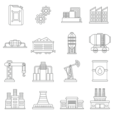 Industry icons set. Outline illustration of 16 industry vector icons for web Vettoriali