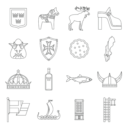 Sweden travel icons set. Outline illustration of 16 sweden travel vector icons for web
