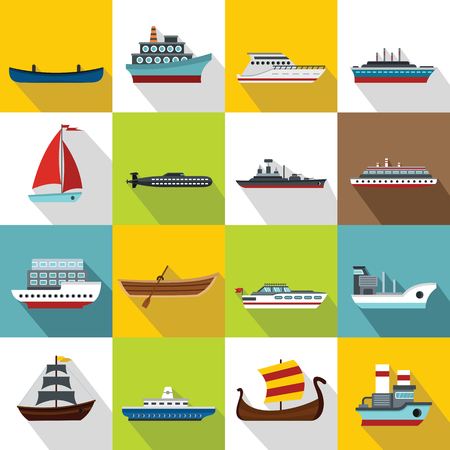 Sea transport icons set. Flat illustration of 16 sea transport vector icons for web