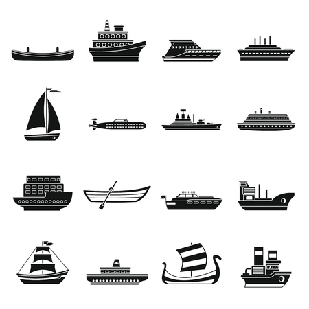 Sea transport icons set. Simple illustration of 16 sea transport vector icons for web