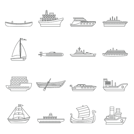 Sea transport icons set. Outline illustration of 16 sea transport vector icons for web