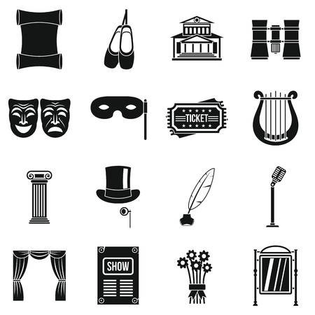 Theater icons set. Simple illustration of 16 theater vector icons for web