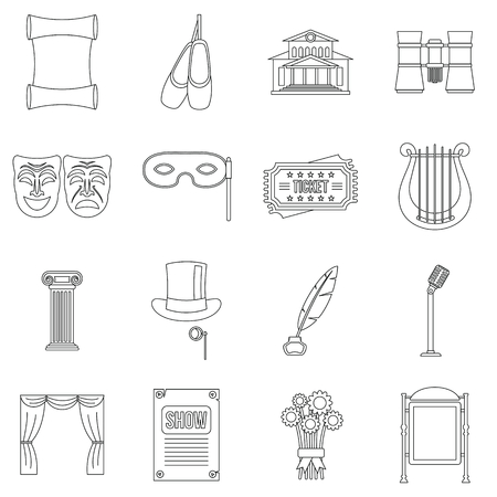 Theater icons set. Outline illustration of 16 theater vector icons for web