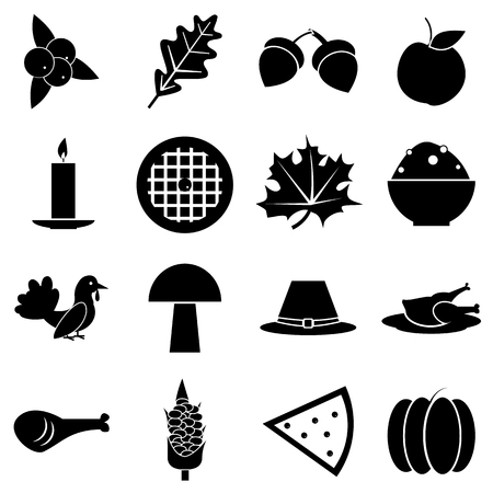 Thanksgiving Day Autumn icons set. Simple illustration of 16 Thanksgiving Day autumn vector icons for web 向量圖像