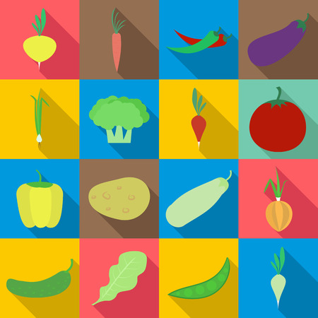 Vegetables icons set. Flat illustration of 16 vegetables vector icons for web