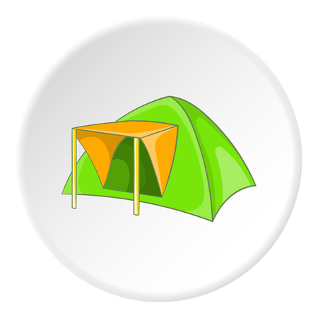 Green tent icon. Cartoon illustration of green tent vector icon for web