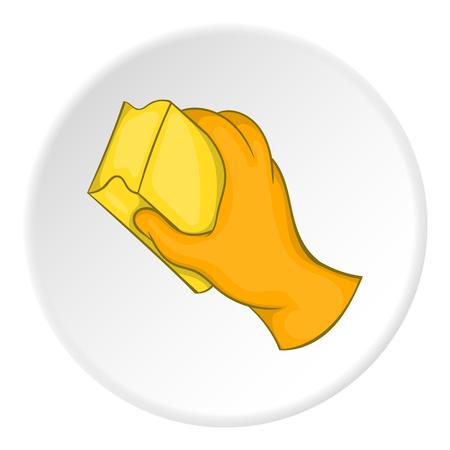 Main dans un gant orange avec une icône éponge jaune. Bande dessinée illustration de main dans la main avec l'icône de vecteur d'éponge pour le web