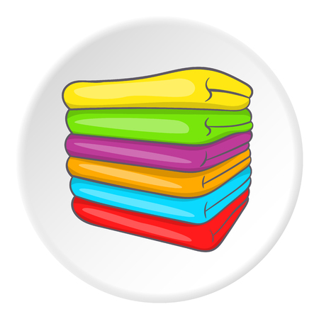 A stack of colored towels icon. Cartoon illustration of a stack of towels vector icon for web Illustration