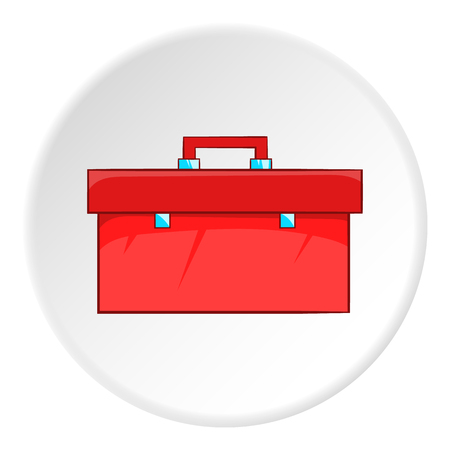 Red case plumber icon. Cartoon illustration of red case plumber vector icon for web Çizim