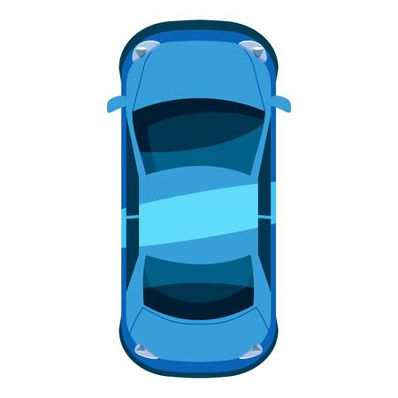 Blue car top view icon. Isometric 3d illustration of vector icon for web  イラスト・ベクター素材