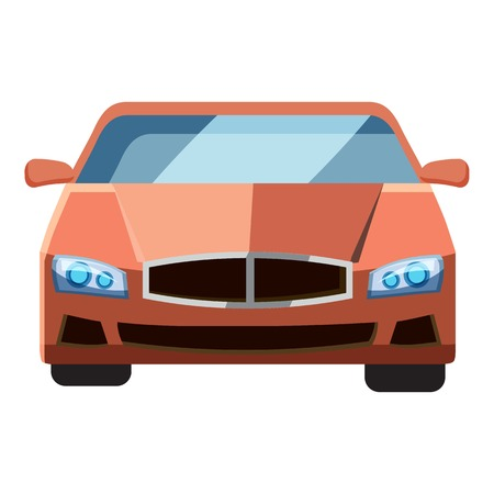 Red car, front view icon. Isometric 3d illustration of red car vector icon for web 写真素材 - 105612293