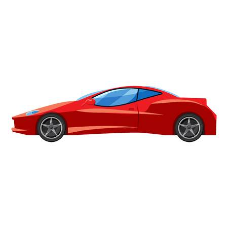 Red sport car side view icon. Isometric 3d illustration of sport car side view vector icon for web  イラスト・ベクター素材