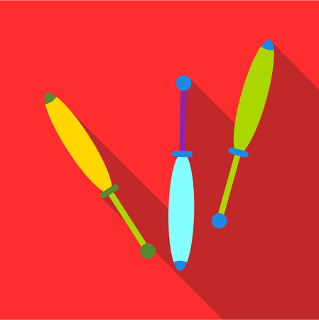 Juggling clubs icon. Flat illustration of juggling clubs vector icon for web isolated on red background Vectores