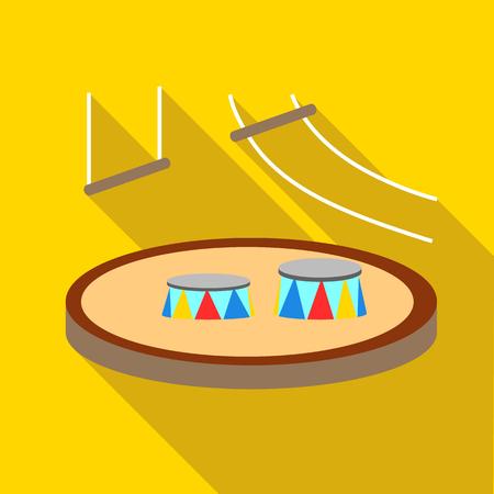Zirkusarenaikone. Flache Illustration der Zirkusarena-Vektorikone für Web lokalisiert auf gelbem Hintergrund