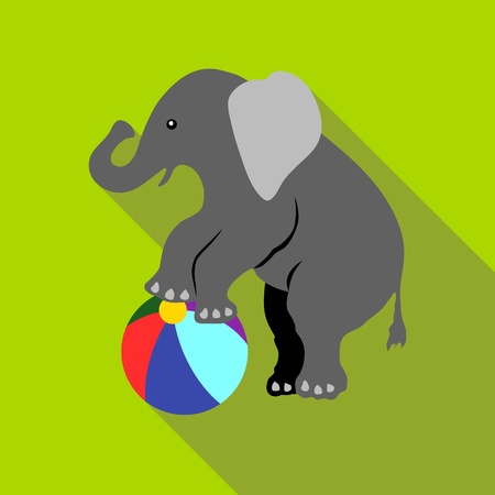Elephant on a ball icon. Flat illustration of elephant on a ball vector icon for web isolated on green background