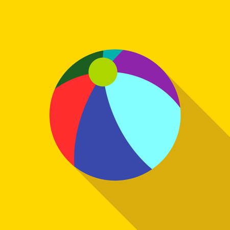 Colorful ball icon. Flat illustration of colorful ball vector icon for web isolated on yellow background