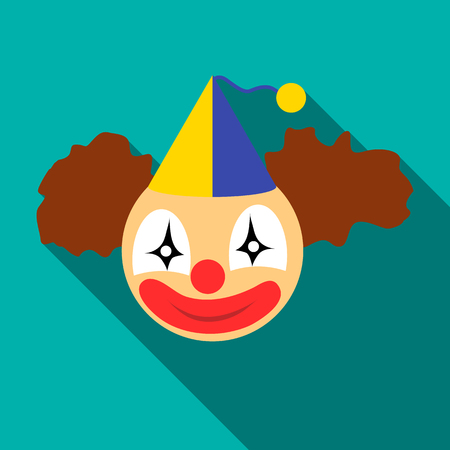 Clown head icon. Flat illustration of clown head vector icon for web isolated on turquoise background