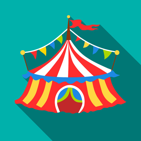 Circus tent icon. Flat illustration of circus tent vector icon for web isolated on turquoise background