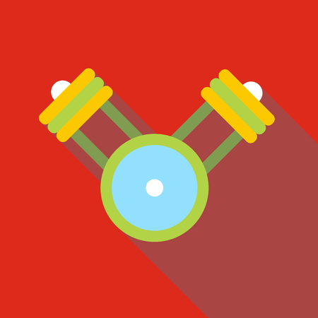 crankshaft: Engine pistons on a crankshaft icon. Flat illustration of engine pistons on a crankshaft vector icon for web isolated on red background