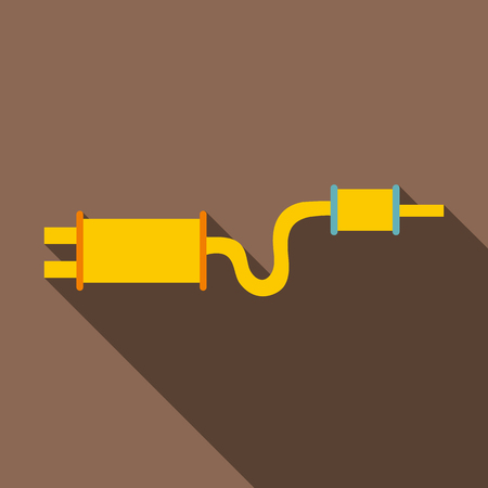 exhaust: Car exhaust pipe muffler icon. Flat illustration of car exhaust pipe muffler vector icon for web isolated on coffee background
