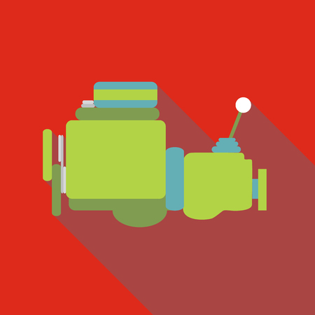 shifting: Car gearbox icon. Flat illustration of car gearbox vector icon for web isolated on red background Illustration