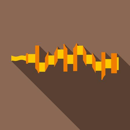 Crankshaft icon. Flat illustration of crankshaft vector icon for web isolated on coffee background