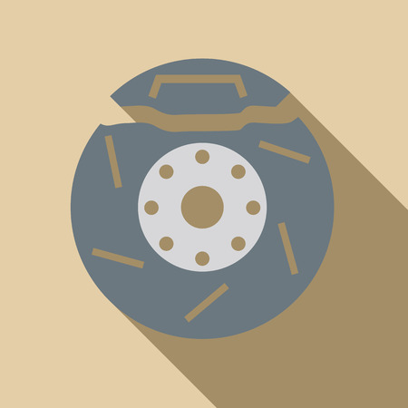 brake disc: Brake disc icon. Flat illustration of brake disc vector icon for web isolated on beige background