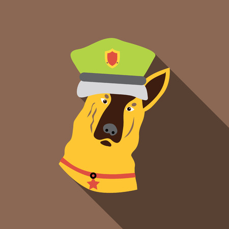 hardy: Police dog icon. Flat illustration of police dog vector icon for web isolated on coffee background Illustration