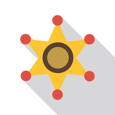shinning: Gold star of sheriff icon. Flat illustration of gold star of sheriff vector icon for web isolated on white background Illustration