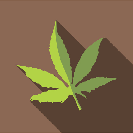 Marijuana leaf icon. Flat illustration of marijuana leaf vector icon for web isolated on coffee background