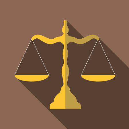 Scales of justice icon. Flat illustration of scales of justice vector icon for web isolated on coffee background