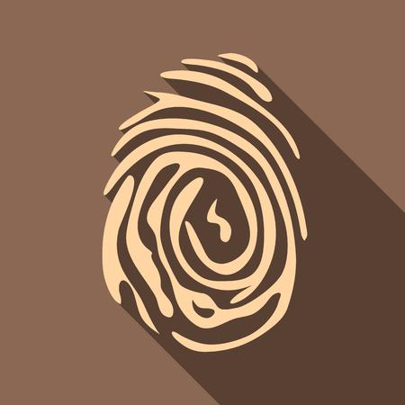 somebody: Fingerprint icon. Flat illustration of fingerprint vector icon for web isolated on coffee background Illustration