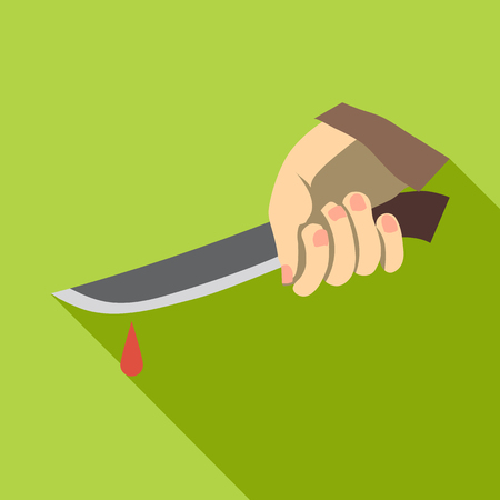 Hand holding knife with blood icon. Flat illustration of hand holding knife with blood vector icon for web isolated on green background