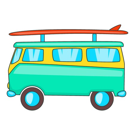 Bus with surfboard icon. Cartoon illustration of bus vector icon for web design Illustration