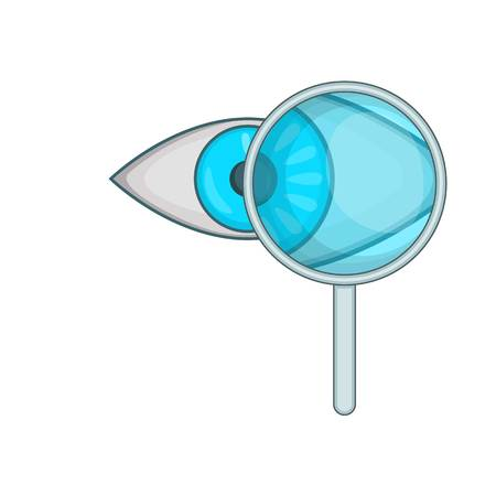 eye exam: Eye exam and magnifying glass icon. Cartoon illustration of magnifying glassvector icon for web design
