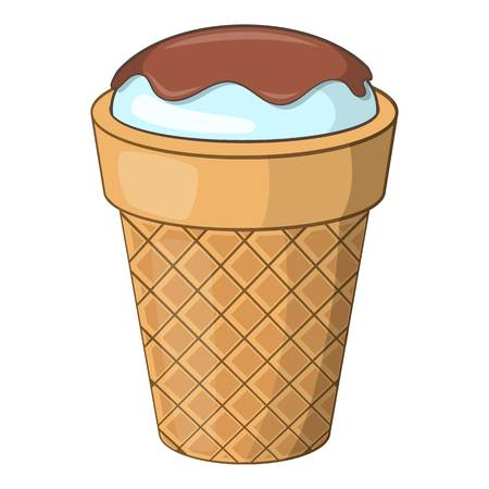 chock: Delicious ice cream icon. Cartoon illustration of ice cream vector icon for web design