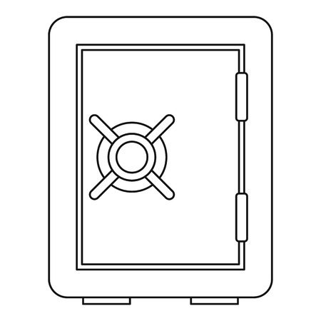 deposit: Safety deposit box icon. Outline illustration of safety deposit box vector icon for web