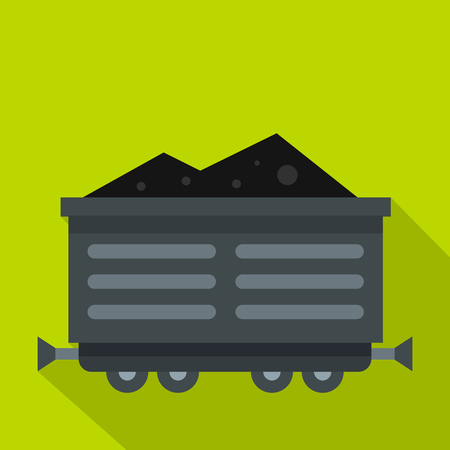 rubbish cart: Train waggon with coal icon. Flat illustration of train waggon with coal vector icon for web Illustration