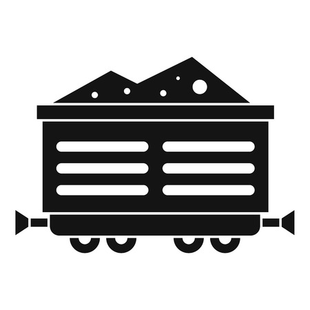 rubbish cart: Train waggon with coal icon. Simple illustration of train waggon with coal vector icon for web