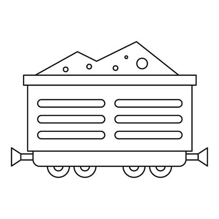 rubbish cart: Train waggon with coal icon. Outline illustration of train waggon with coal vector icon for web